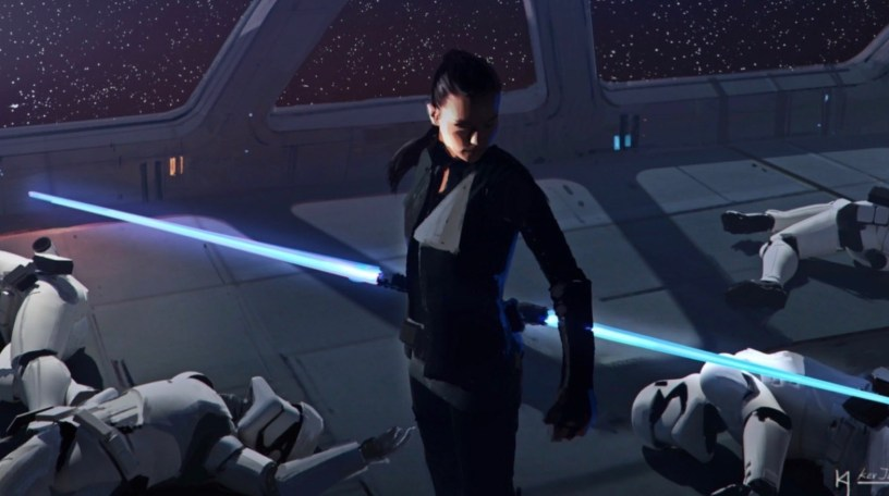 Rey defeats First Order Stormtroopers in concept art for STAR WARS: DUEL OF THE FATES