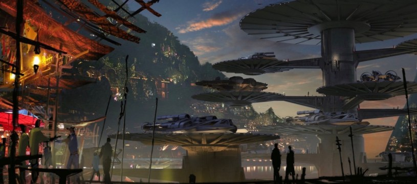 The Millennium Falcon lands on a docking bay platform on the planet Bonaden in STAR WARS: DUEL OF THE FATES