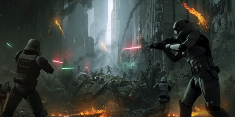 Storm Troopers shoot at Resistance fighters during the Battle of Coruscant in STAR WARS: DUEL OF THE FATES