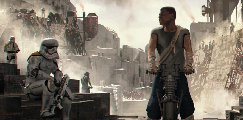 Finn is a prisoner at a First Order rock quarry on Coruscant in STAR WARS: DUEL OF THE FATES