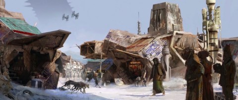 A migrant worker village on Kuat in the opening sequence of STAR WARS: DUEL OF THE FATES