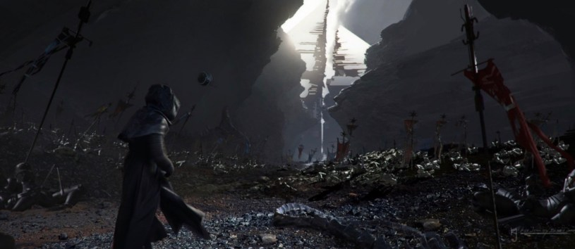 Kylo Ren treks through the terrain of Remnicore toward the Sith Temple in STAR WARS: DUEL OF THE FATES