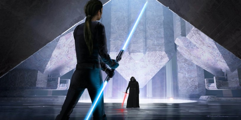 Rey and Kylo Ren face off for a climatic lightsaber duel at the Temple of Mortis in STAR WARS: DUEL OF THE FATES