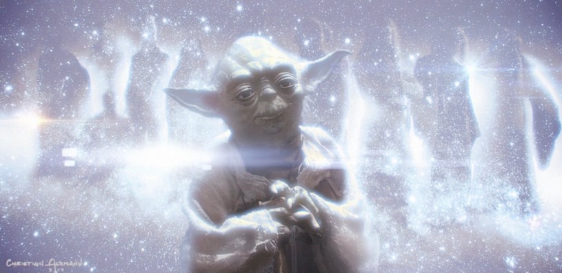 The Force Ghost of Yoda appears (with other Jedi knights) to Rey in another dimension on an astral plane in STAR WARS: DUEL OF THE FATES