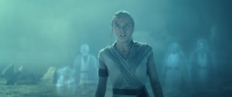 """Rey (Daisy Ridley) confronts Emperor Palpatine for the final time. Behind her stand the Force Ghosts of Jedi's past, in this fan edit """"STAR WARS The Rise of Skywalker - Rey vs Palpatine (Force Ghost Edit) 2.0""""."""