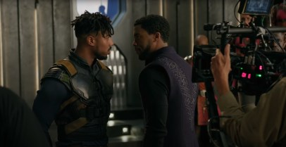 Michael B. Jordan and Chadwick Boseman play a scene on the set of Marvel's BLACK PANTHER (2018)
