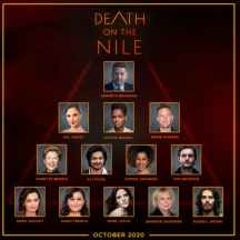 The cast for Kenneth Branagh's adaptation of Agatha Christie's DEATH ON THE NILE (2020)