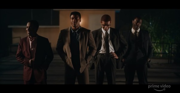 Leslie Odom Jr (as Sam Cooke), Eli Goree (as Cassius Clay), Kingsley Ben-Adir (as Malxom X), and Aldis Hodge (as James Brown) star in director Regina King's ONE NIGHT IN MIAMI... (2020)