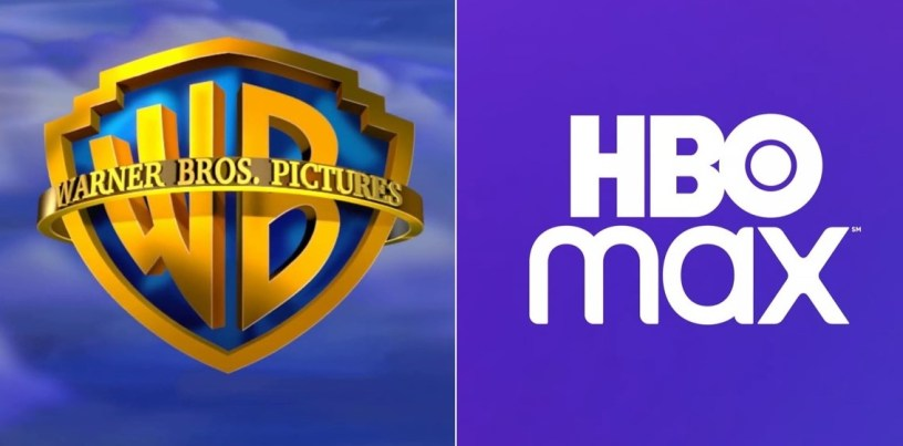 Logos for Warner Bros. Pictures and HBO Max. They will launch the WB's 2021 theatrical slate simultaneously throughout the year.