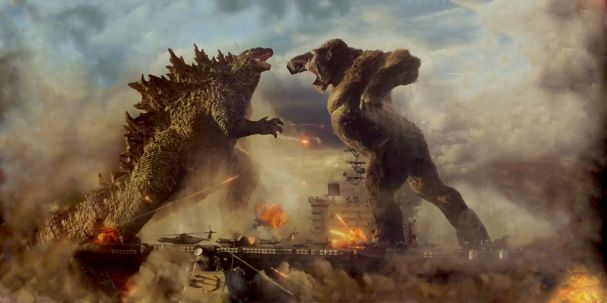 The two titular monsters face off in GODZILLA VS KONG (2021)