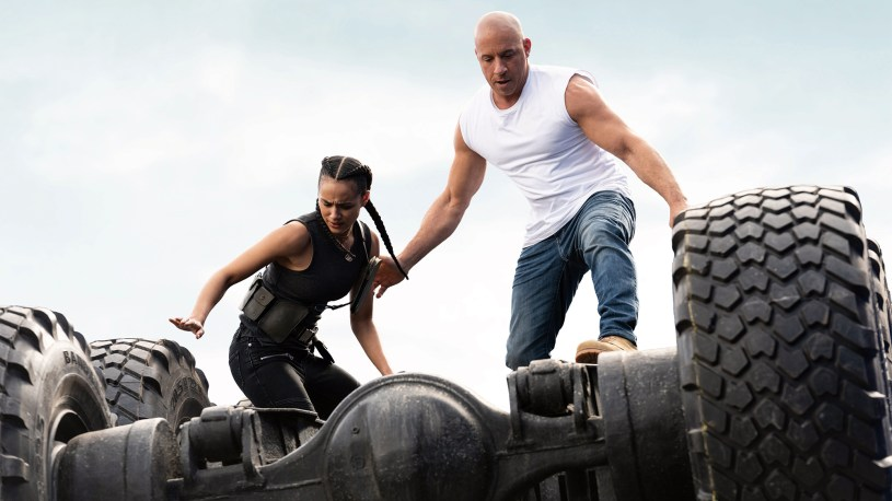 """(from left) Ramsey (Nathalie Emmanuel) and Dom (Vin Diesel) in """"F9,"""" directed by Justin Lin (2021)"""