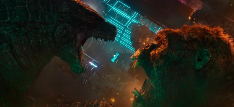 The titular monsters face off in GODZILLA VS KONG (2021)