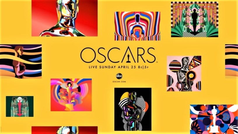 Collage of official commissioned art designs for 2021 Oscars ad campaign.