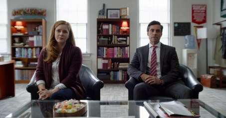 (from left) Cynthia Murphy (Amy Adams) and Larry Mora (Danny Pino) in Dear Evan Hansen, directed by Stephen Chbosky.