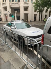 A police car in Central City, the metropolis that's home to Barry Allen in THE FLASH (2022)