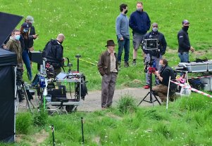 Harrison Ford shoots a scene on location in the U.K. for INDIANA JONES 5 (2022)