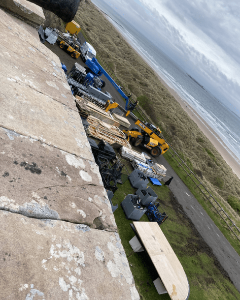Set construction at Bamburgh Castle in Northumberland, UK, on location of the production for INDIANA JONES 5 (currently untitled)