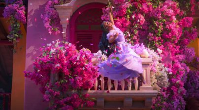 A balcony dancing Madrigal in the Disney animated movie ENCANTO (2021)
