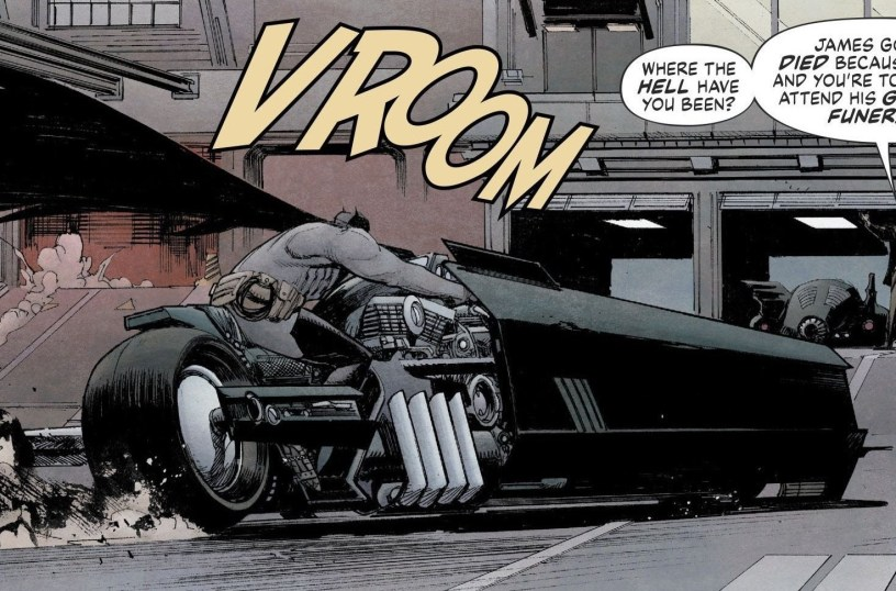 """A panel from the DC Comic """"Batman: The White Knight,"""" which appears to be the inspiration for the new Batcycle in THE FLASH (2022)"""