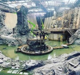 Set pieces for the Batcave on a studio lot, for THE FLASH (2022)