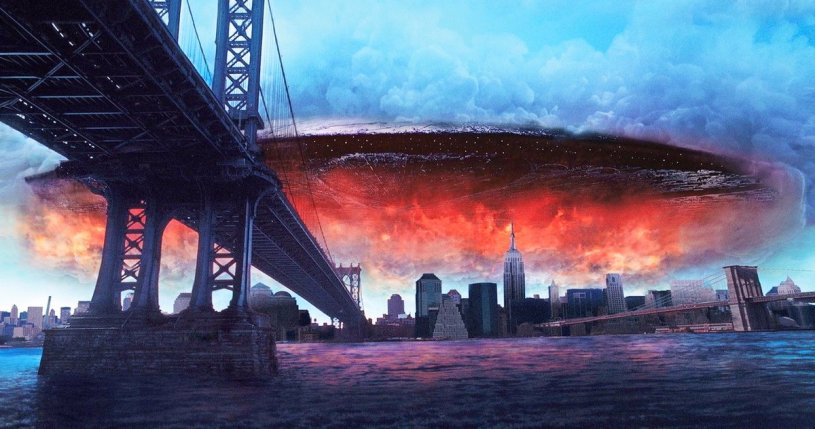 A giant spaceship appears over New York City in the classic sci-fi disaster flick INDEPENDENCE DAY (1996)