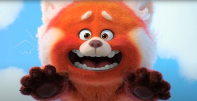 Mei Lee (voiced by Rosalie Chiang) after she has transformed into a red furry panda in Pixar's TURNING RED (2022)
