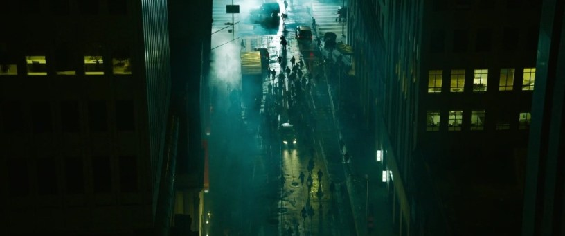 Agents descend on a street at night in THE MATRIX RESURRECTIONS (2021)