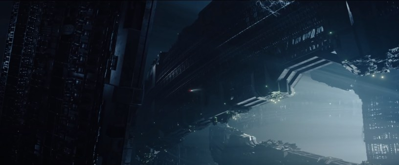 A small space ship flies through a larger structure Roland Emmerich's sci-fi disaster flick MOONFALL (2022)