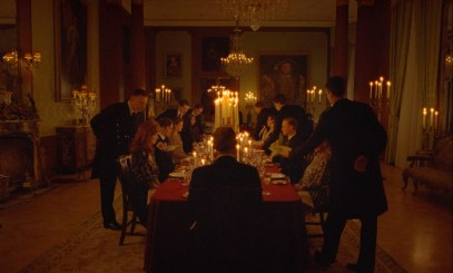 A Royal Family meal in the Princess Diana biopic SPENCER (2021)