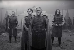 Brendan Gleeson co-stars as the King of Scotland, alongside co-star Harry Melling as Malcolm, in Joel Coen's THE TRAGEDY OF MACBETH, an adaptation of William Shakespeare's epic play.