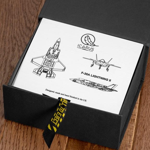 F35-A cufflink gift set made from reclaimed F-35 Aluminium