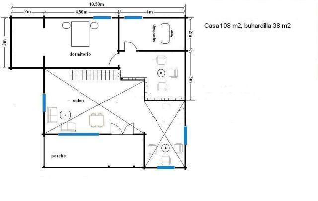 plano de casa de 108 m, buhardilla