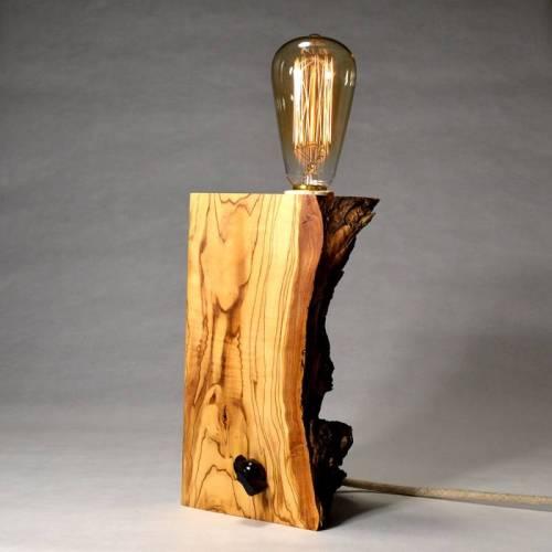 lámparas de madera reciclada