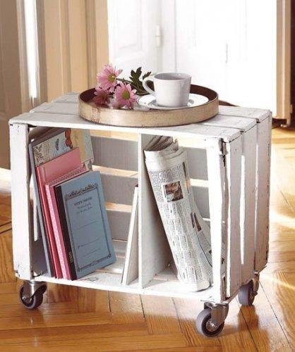 muebles de caja de madera, revistero de caja de madera, reciclar cajas de madera, reciclaje de cajas de madera