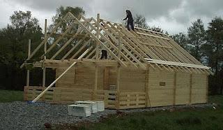 casa de estructura de madera, montaje de techo