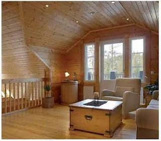 Casas de estructura de madera, interior de madera