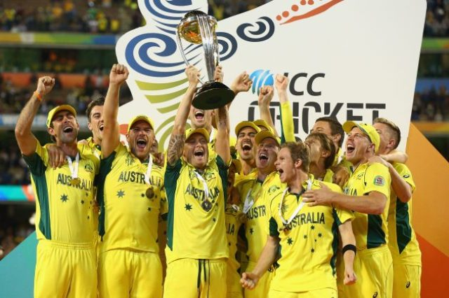 australia won cricket world cup 2015 with trophy photos hd
