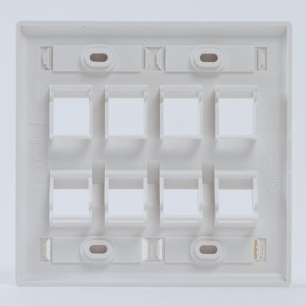 Angled Station ID Faceplate with 4 Flat Port and 4 Angled Ports for EZ/HD Style in Double Gang in White Back IC107AS8WH