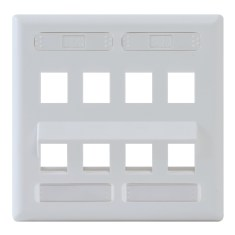 Angled Station ID Faceplate with 4 Flat Port and 4 Angled Ports for EZ/HD Style in Double Gang in White IC107AS8WH