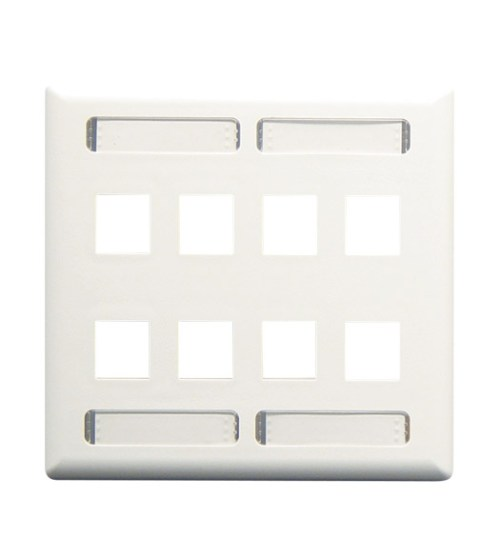 Station ID Faceplate with 8 Ports for EZ/HD Style in Double Gang and White