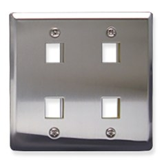 Classic Stainless Steel Faceplate with 4 Ports for EZ/HD Style in Double Gang