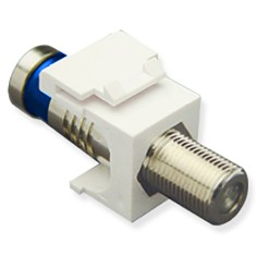 F-Type Compression Keystone Jack with Nickel Plated Connector for HD Style in White