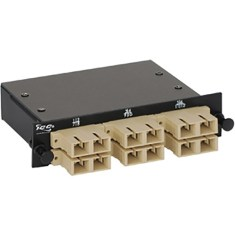 SC-MPO Fiber Optic LGX Cassette with Beige Multimode Adapters and 12 OM2 Fibers