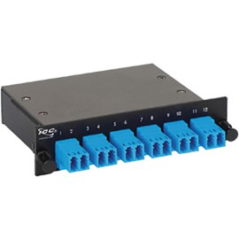 LC-MPO Fiber Optic LGX Cassette with Blue Singlemode Adapters and 12 OS1 Fibers