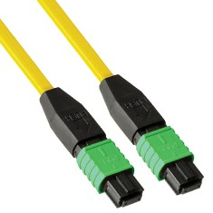 MPO-MPO Plenum Multimode 9/125 (OS1) Fiber Optic Patch Cable with 12 Fibers in Yellow