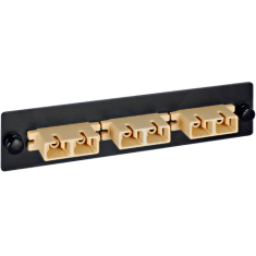 SC-SC 3 Duplex Fiber Optic Adapter Panel with Beige Multimode Adapters for 6 Fibers