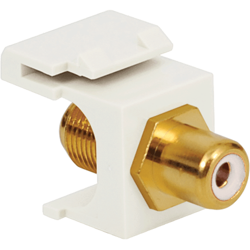 RCA to F-Type Keystone Jack with Gold Plated Connector and White Insert for HD Style in White