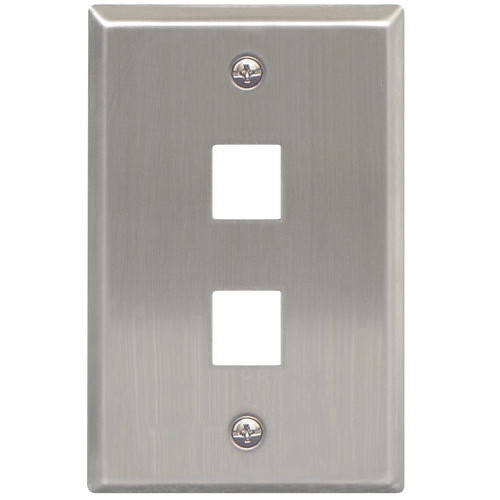 Classic Stainless Steel Faceplate with 2 Ports for EZ/HD Style in Single Gang