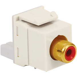 RCA to IDC Keystone Jack with Gold Plated Connector and Red Insert for HD Style in White