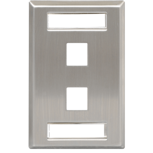 Station ID Stainless Steel Faceplate with 2 Ports for EZ/HD Style in Single Gang